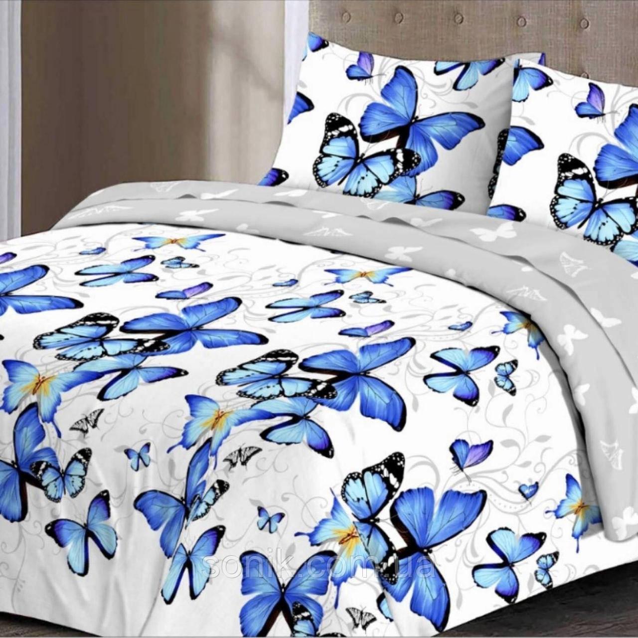 Комплект постельного белья Бабочки синие семейный