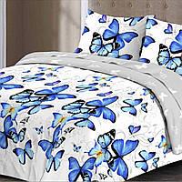 Комплект постельного белья Бабочки синие семейный, фото 1
