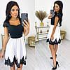 Женское стильное нарядное платье с коротким кружевным рукавом