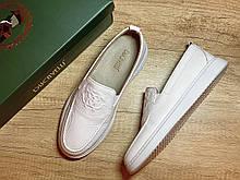 Туфли мужские, слипоны белые из натуральной кожи производство Турция