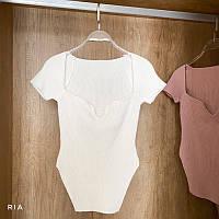 Женская футболка из трикотажа рубчик с фигурным вырезом и асимметричным низом (р. 42-44) 77FU411