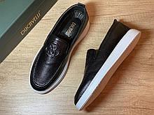 Туфли мужские, слипоны черные из натуральной кожи производство Турция