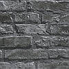 Плотные и прочные фактурные обои, бумажные под кирпич цвета графит 954701, фото 4