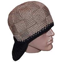 Мужская вязаная шапка-трансформер,  объемной вязки,  цвета  капучино.