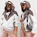 Куртка жіноча з плащової тканини з капюшоном 35-395, фото 2