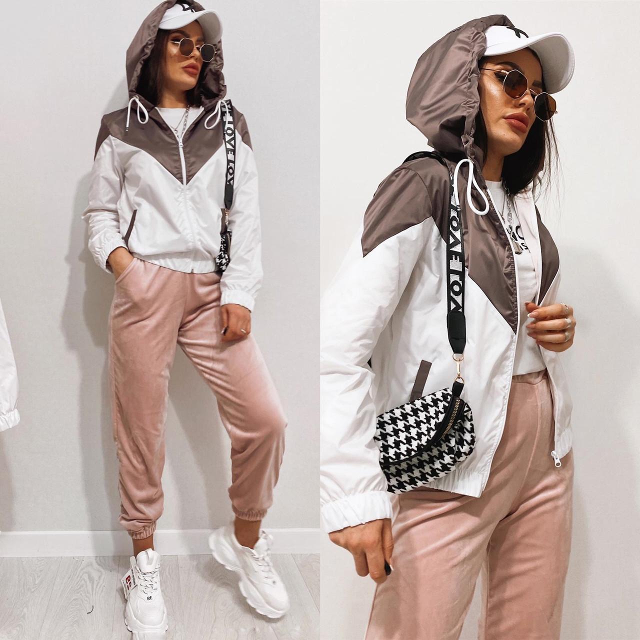 Куртка жіноча з плащової тканини з капюшоном 35-395