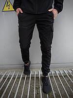 Штаны карго брюки мужские весенние осенние качественные черные Softshell Flash light Intruder