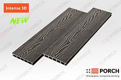 Террасная доска Porch Intense Eben 3D 3000x150x24 двухсторонний декор, дерево-полимерная доска, для террасы