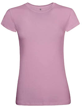 Футболка однотонна жіноча, колір рожевий, кругла горловина