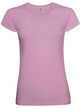 Футболка однотонная женская, цвет розовый, круглая горловина