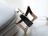 Кольцо серебряное с золотой вставкой и куб.цирконием, фото 3