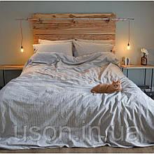 Комплект постельного белья Barine Washed cotton евро размер Pinstripe antrasit антрацит