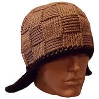 Мужская вязаная шапка-трансформер (утепленный вариант) объемной вязки,  цвета  капучино.