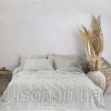 Комплект постельного белья Barine Washed cotton евро размер Sense gri серый