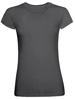 Футболка однотонна жіноча, колір сірий, кругла горловина