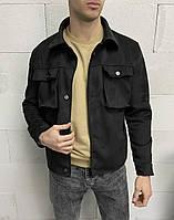 Чоловіча куртка чорна замшева, фото 1