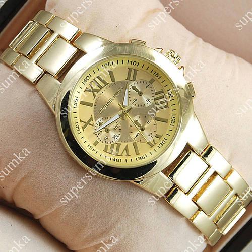 Элегантные наручные часы Michael Kors Chronograph Gold/Gold 1642