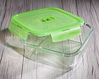 Контейнер пищевой квадратный PureBox, 1220 мл с зеленой крышкой Luminarc.
