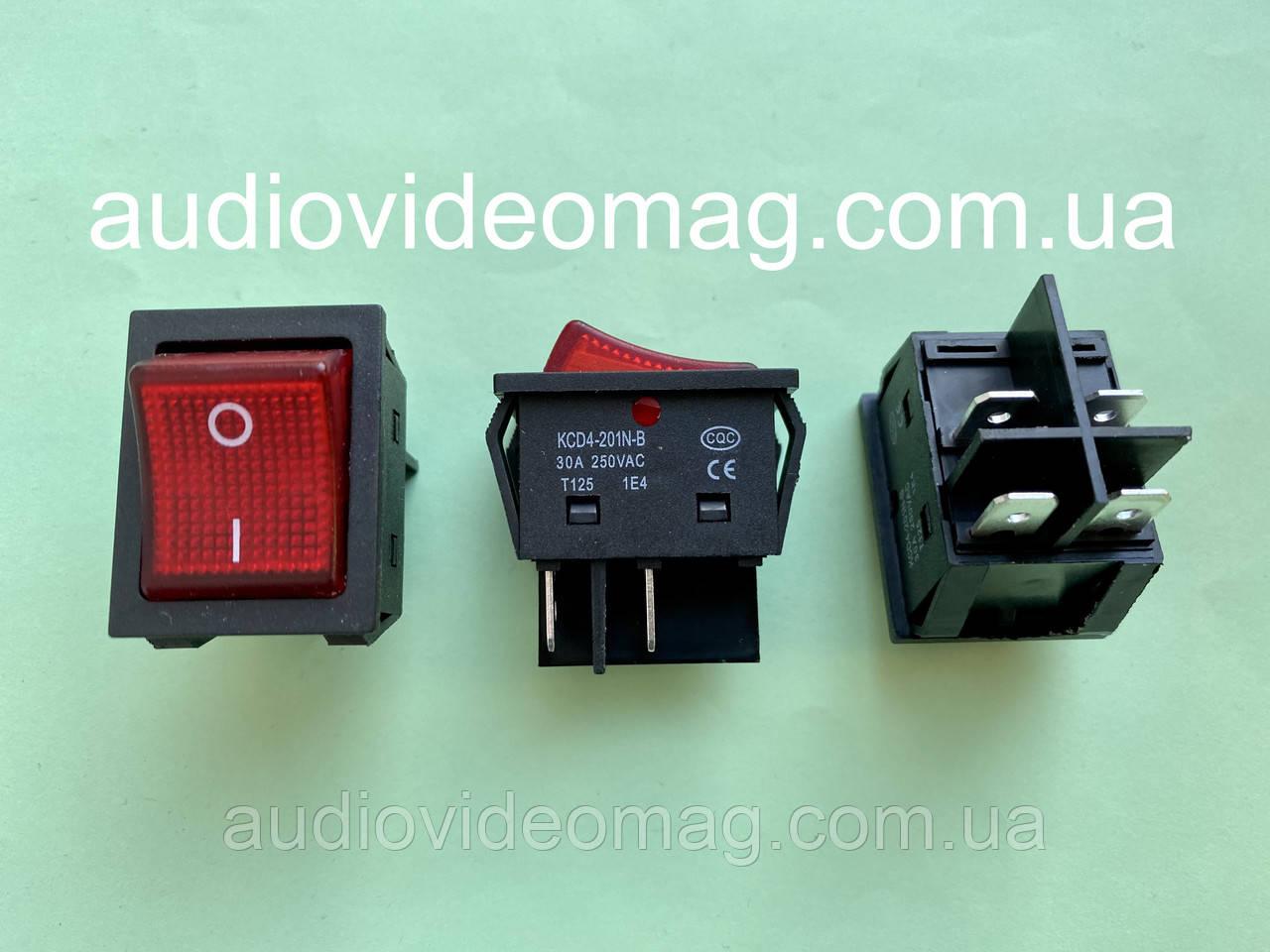 Переключатель клавишный 28.5 х 22 мм, 30А 250V, 4 контакта