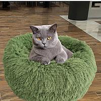 Пушистый лежак, матрас для собак и кошек 50 см. Спальное место для домашних животных оливка.