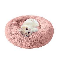 Пушистый лежак, матрас для собак и кошек 50 см. Спальное место для домашних животных.Лежанка персик.