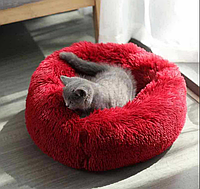 Подушка-лежак (лежанка) для собак и кошек 50 см,. Спальное место для кошек и собак. Цвет- бордо