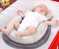 """Пеленальный анатомический матрас-подушка для сна """"ПОЗА ЭМБРИОНА"""", матрас для пеленания (беживый+молоко)"""