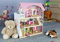Дерев'яний будиночок + 4 ляльки