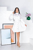 Женское красивое платье на каждый день из костюмной ткани с гипюром