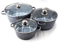 Набор алюминиевых кастрюль с крышками 6 предметов (2.1л , 4.2л 6,3л) Benson с мраморным покрытием