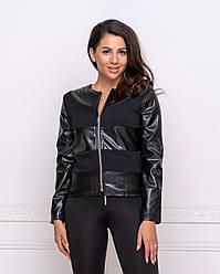 Жіноча коротка шкіряна куртка легка на весну чорна великі розміри