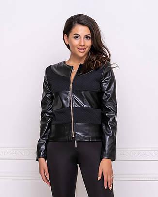 Женская короткая кожаная куртка легкая на весну черная большие размеры, фото 2