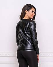 Женская короткая кожаная куртка легкая на весну черная большие размеры, фото 3