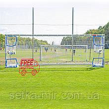 """Сетка на ворота футбольная сетка для ворот вратарь """"Евро стандарт"""" бело-синяя, с улавливающими карманами"""