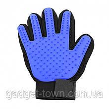 Рукавичка для вичісування шерсті True Touch Чорно-синя