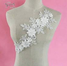 Пришивная аппликация для одежды женская белая Цветочный принт