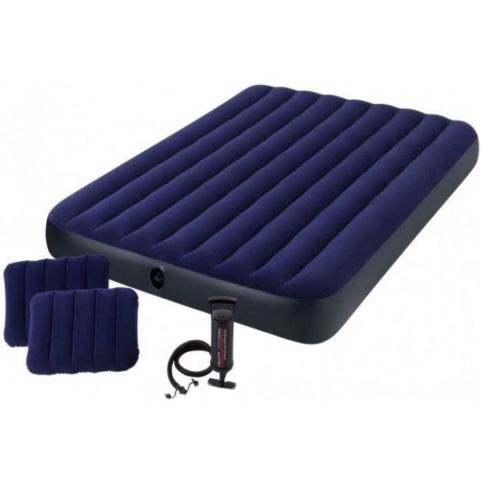 Велюровый Матрас Intex 64765 152х203х25 см с двумя подушками и насосом синий