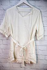 Пляжное платье - туника с поясом и вязаной отделкой, фото 2