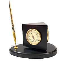 Барометр домашний настольный с термометром и часами