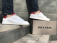Кроссовки мужские кожаные Міда 111717 бел/кр размеры 40,41,42,43,44,45, фото 1