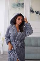 Стильный халат женский махровый короткий серого цвета