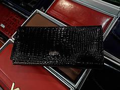 Кошелек кожаный женский лаковый черный на магните с 2- мя монетницами внутри Balisa B826-