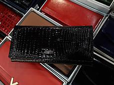 Шкіряний жіночий гаманець лаковий чорний на магніті з 2 - ма монетницами всередині Balisa B826-, фото 2