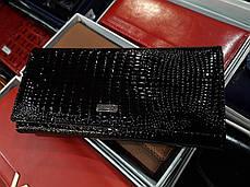 Шкіряний жіночий гаманець лаковий чорний на магніті з 2 - ма монетницами всередині Balisa B826-, фото 3