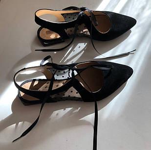 Черные босоножки женские закрытые из замши Woman's heel 36-38 с прозрачной вставкой