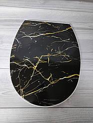 Крышка для унитаза черный мрамор 372 #PO