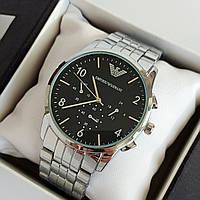 Мужские наручные часы Emporio Armani (армани) серебристые с черным циферблатом, цифры - код 1904