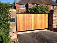 Зсувні ворота з зашивкою деревом 2,8 м*2м, фото 1