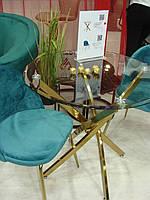 Кофейный стол Т-314 стекло D80 от Vetro Mebel, ноги золото