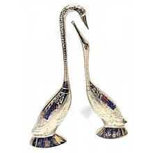 Статуэтка лебеди из бронзы пара хромированые